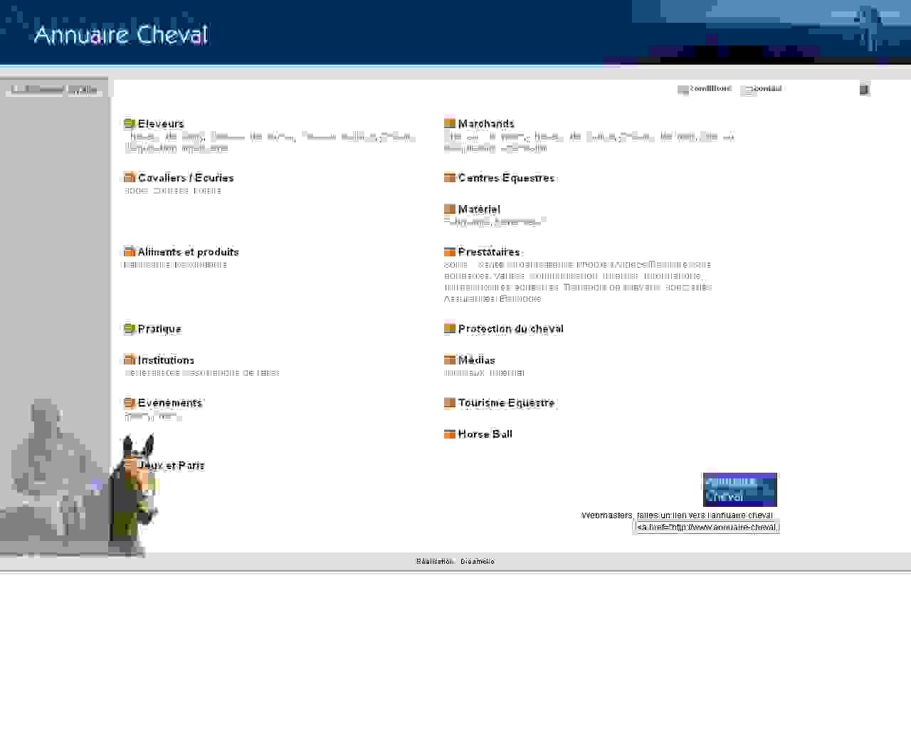 Visuel du site Annuaire Cheval