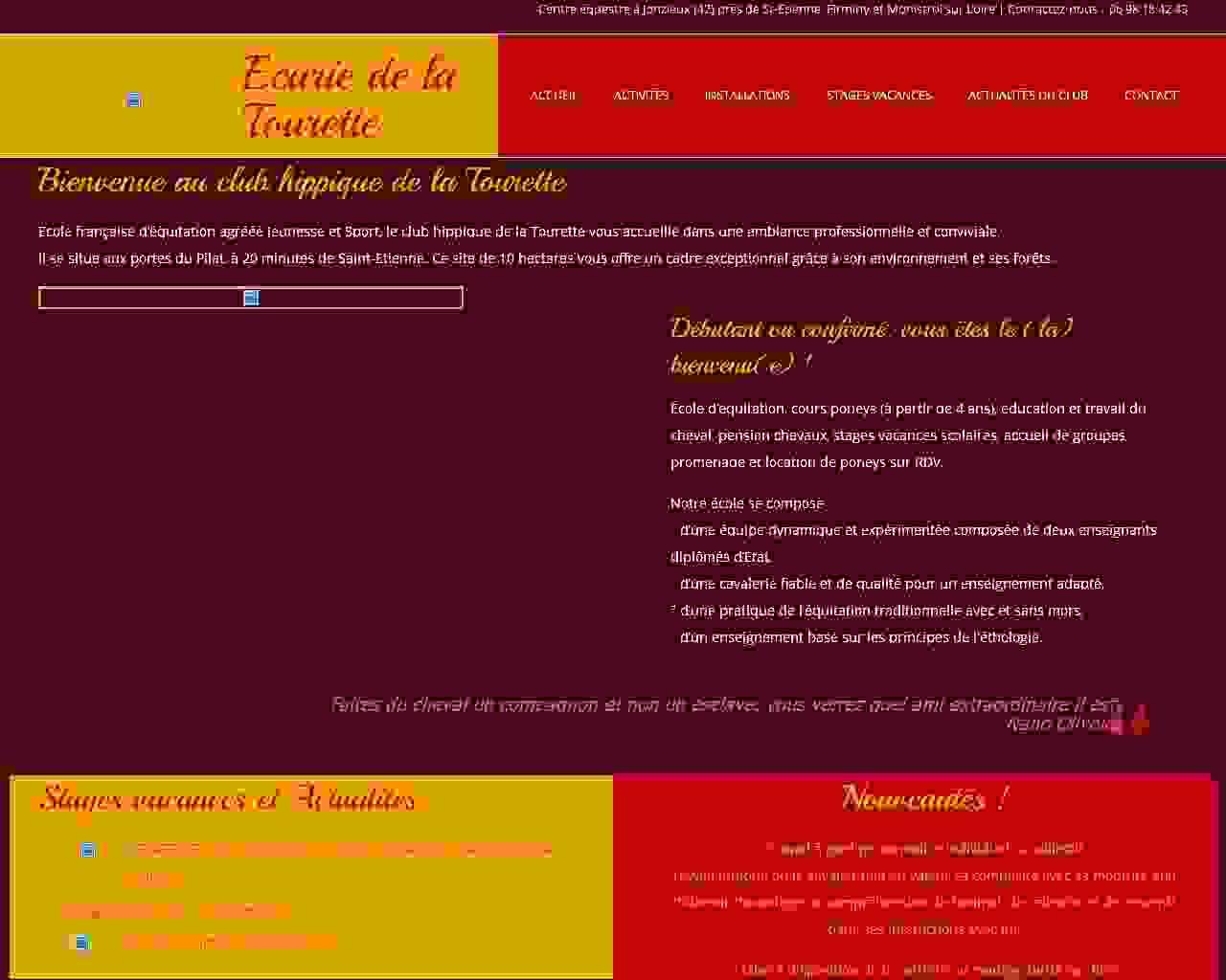 Visuel du site Club hippique La Tourette