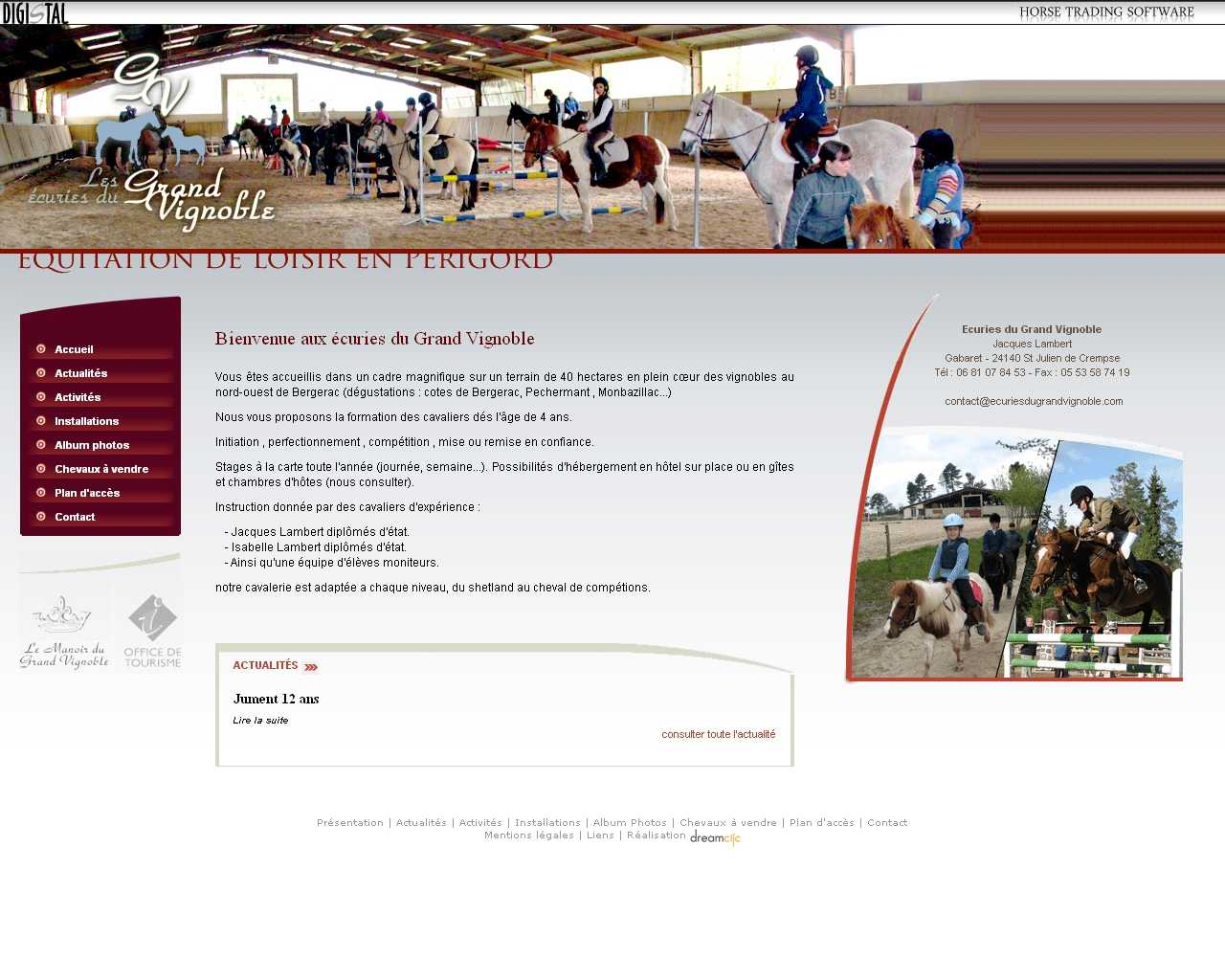 Visuel du site Ecuries du Grand Vignoble
