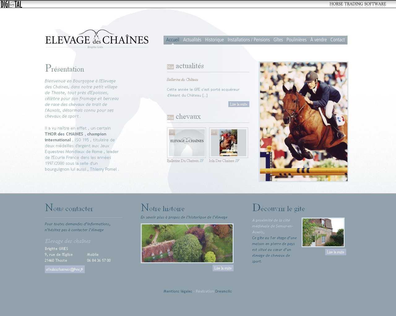 Visuel du site Elevage des chaînes