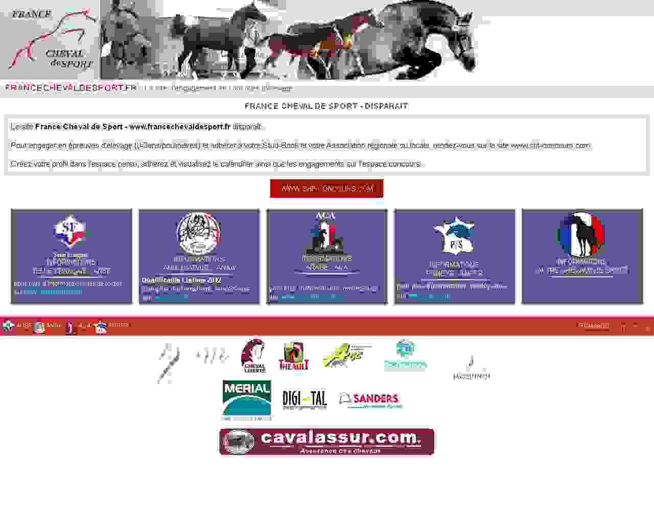Visuel du site France Cheval de Sport