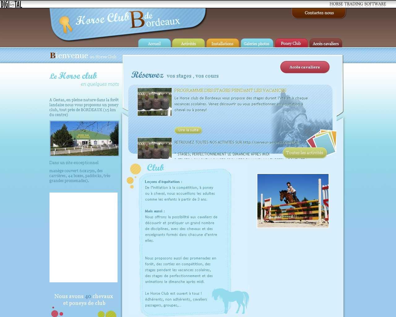 Visuel du site Horse club de Bordeaux