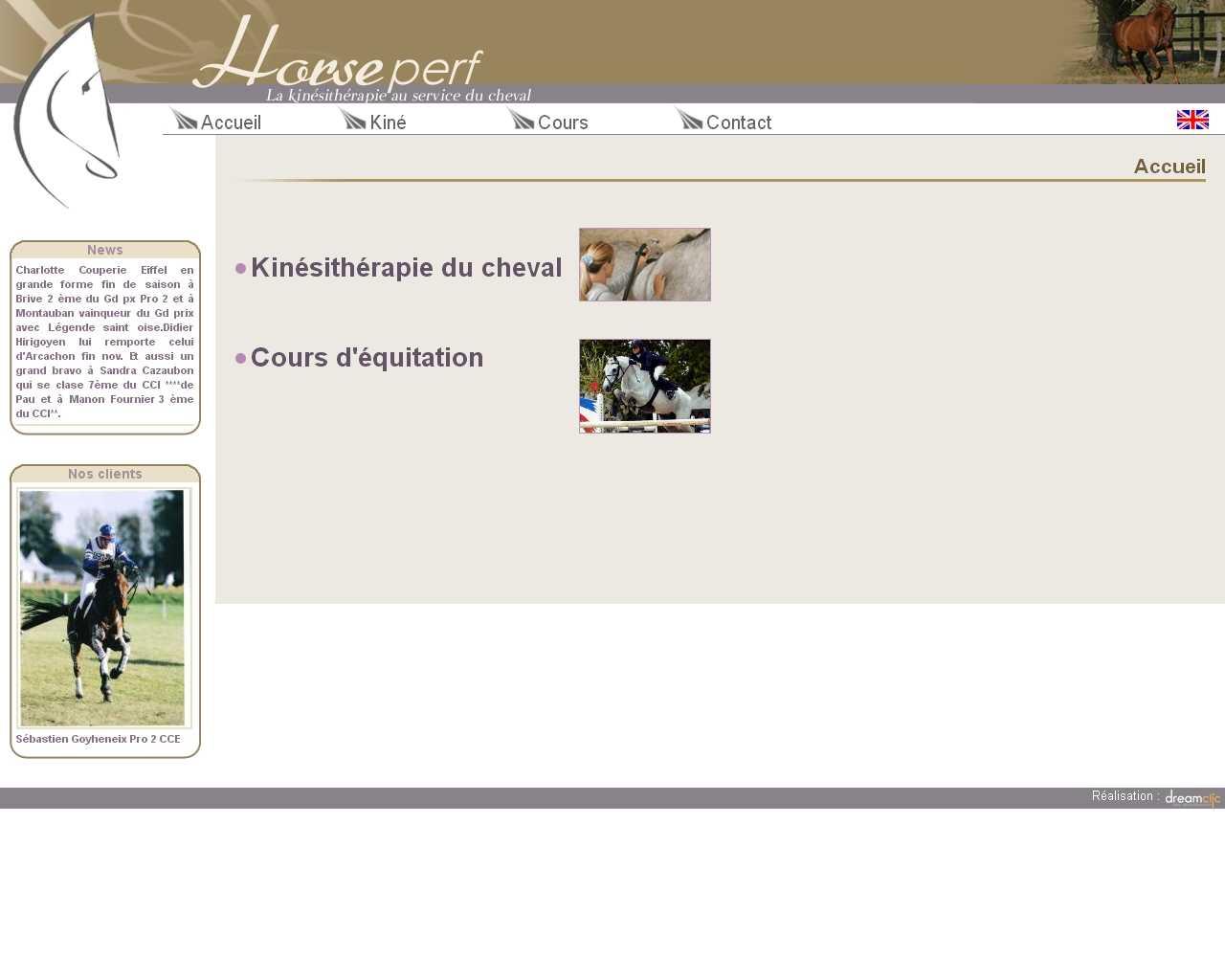 Visuel du site Horse Perf