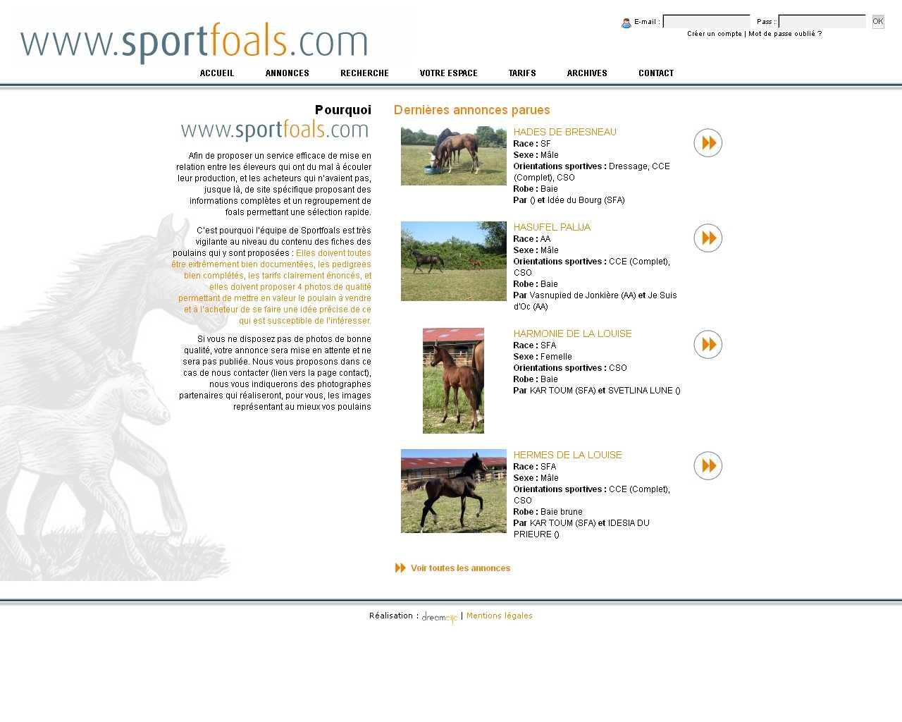 Visuel du site Sport Foals