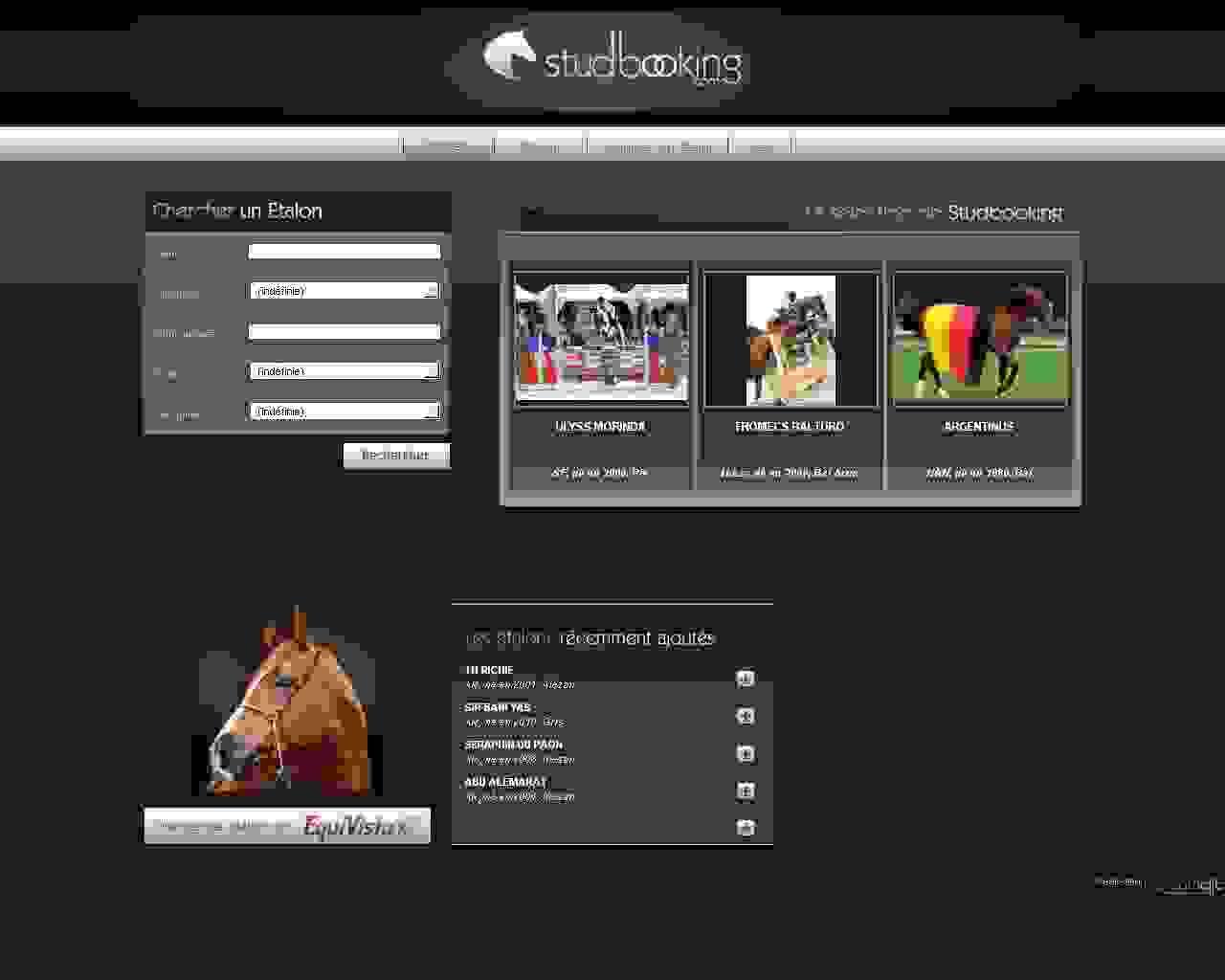 Visuel du site Studbooking